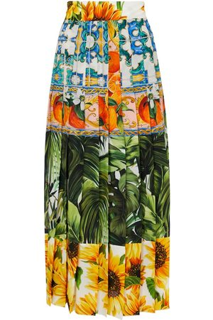Dolce & Gabbana Printed stretch-silk midi skirt