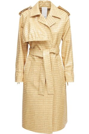 THEMOIRÈ Women Trench Coats - Croc Embossed Faux Leather Trench Coat