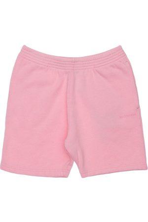 Balenciaga Girls Shorts - Logo Print Cotton Sweat Shorts