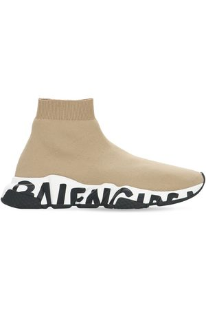 Balenciaga 30mm Speed Graffiti Knit Sneakers