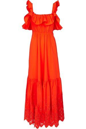Self-Portrait Cotton broderie anglaise maxi dress