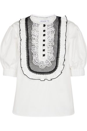 Self-Portrait Lace-trimmed cotton blouse