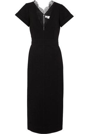 Victoria Beckham Lace-trimmed crêpe midi dress