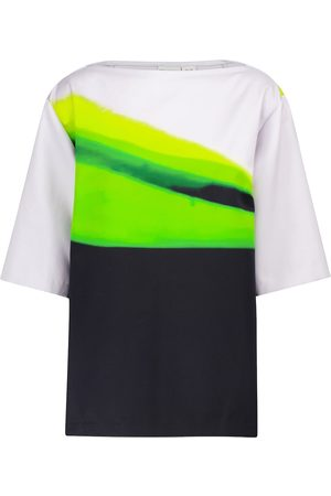 DRIES VAN NOTEN Striped cotton satin top