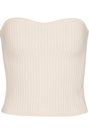 Saint Laurent Ribbed-knit wool bustier