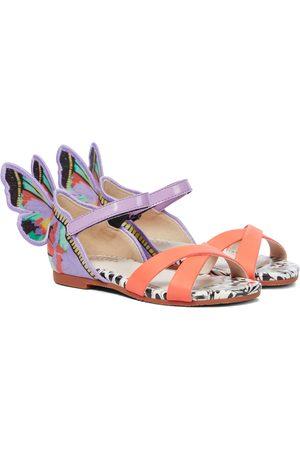 SOPHIA WEBSTER Chiara leather-trimmed satin sandals