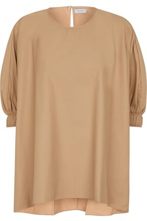 Deveaux New York Amal cotton-blend poplin top