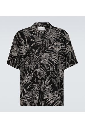 Saint Laurent Short-sleeved palm-printed shirt