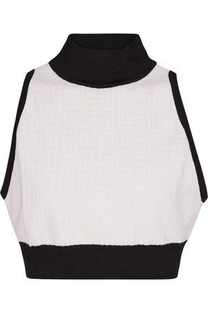 Balmain High-neck wool-blend crop top