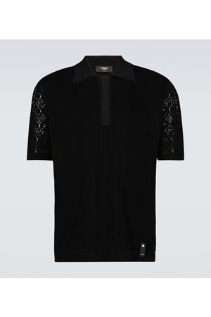 Fendi Knitted macramé polo shirt