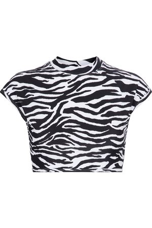 The Attico Zebra-print stretch-jersey crop top