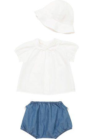 Chloé Baby cotton T-shirt, hat and shorts set