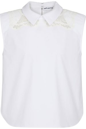 Self-Portrait Lace-trimmed cotton top