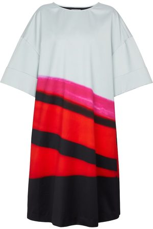 DRIES VAN NOTEN Striped satin midi dress