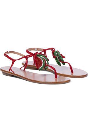 Aquazzura Patillita embellished suede sandals