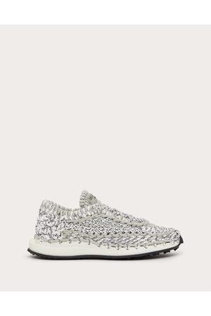 VALENTINO GARAVANI Men Sneakers - Valentino Garavani Crochet Sneakers In Fabric Man Grey 100% Pelle Di Vitello - Bos Taurus 40