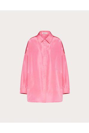 VALENTINO Women Coats - Faille Pea Coat Women Fuchsia Silk 100% 40