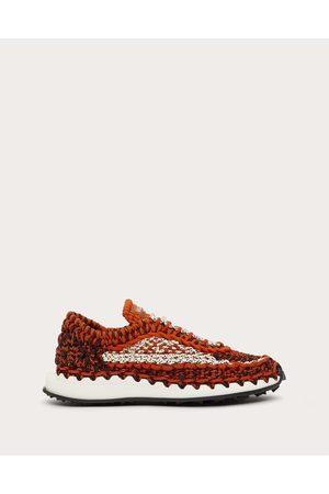 VALENTINO GARAVANI Men Sneakers - Valentino Garavani Crochet Sneakers In Fabric Man Zest Polyester 100% 40