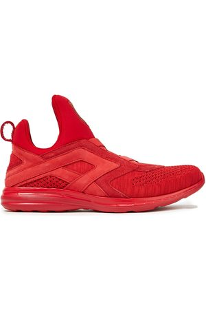 APL® ATHLETIC PROPULSION LABS Woman Suede-trimmed Mélange Mesh And Neoprene Sneakers Size 5