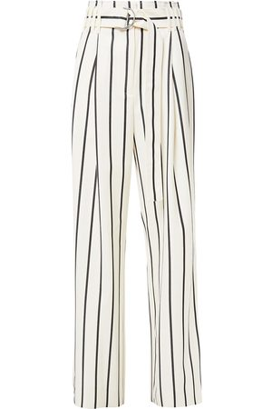 Proenza Schouler Women Wide Leg Pants - Woman Belted Striped Wool And Cotton-blend Twill Wide-leg Pants Ivory Size 2