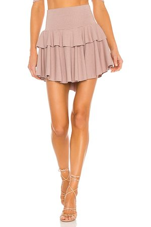 Chaser Women Mini Skirts - Cozy Rib Flouncy Tiered Mini Skirt in Rose.