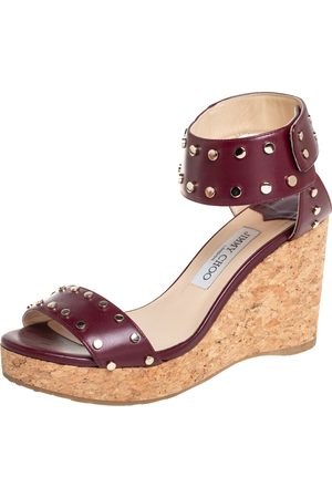 Jimmy Choo Maroon Studded Leather Veto Wedge Platform Sandals Size 39