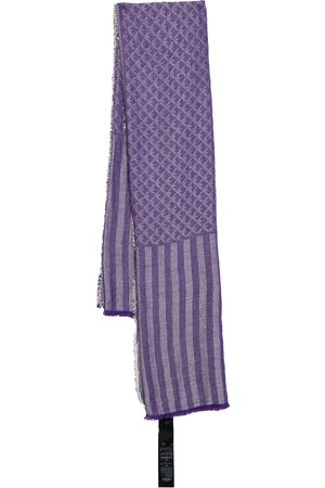 Emporio Armani Striped Monogram Jacquard Cotton & Modal Scarf