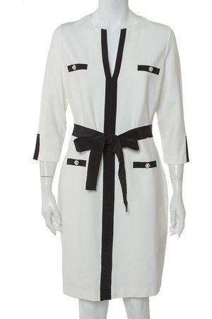 CH Carolina Herrera Knit Contrast Trim Detail Belted Midi Dress L
