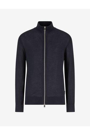 Armani Men Cardigans - Cardigan Navy Polyester, Linen