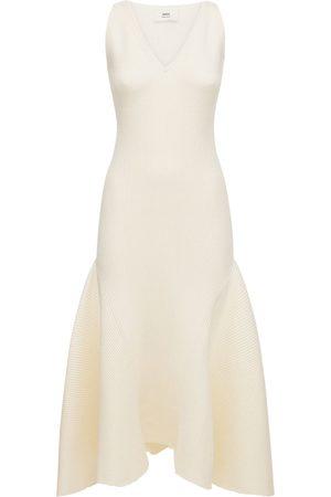 Ami Knit Sleeveless Long Dress W/ruffles