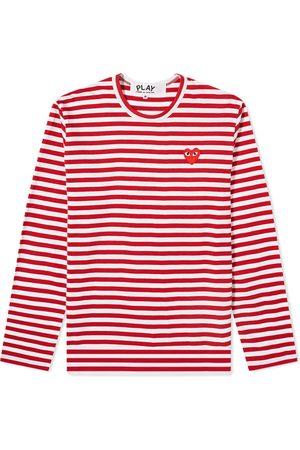 Comme des Garçons Comme des Garcons Play Long Sleeve Heart Stripe Logo Tee
