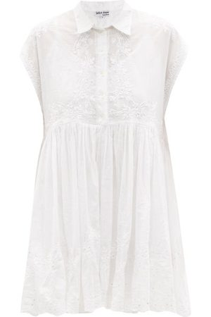 Juliet Dunn Women Casual Dresses - Hand-embroidered Cotton Mini Shirt Dress - Womens