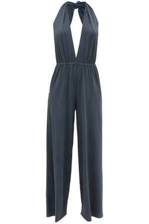Eres Abby Halterneck Jersey Wide-leg Jumpsuit - Womens - Grey