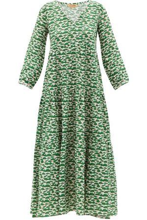Muzungu Sisters Women Maxi Dresses - Frangipani Tiered Linen Maxi Dress - Womens