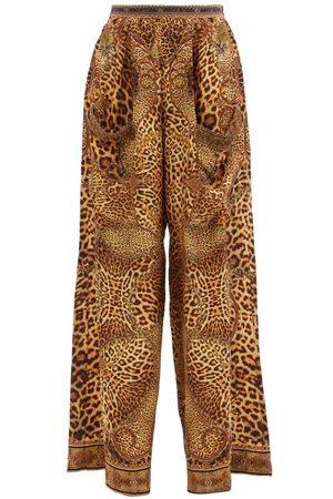 Camilla Women Wide Leg Pants - Leopard-print Silk Wide-leg Trousers - Womens - Leopard