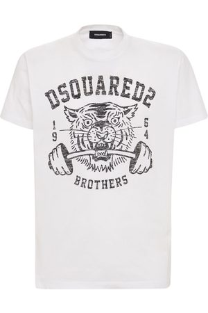 Dsquared2 Logo Tiger Print Cotton Jersey T-shirt