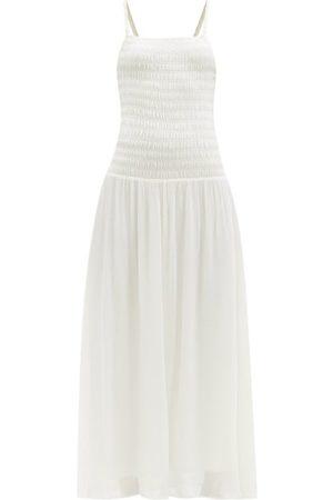 Totême Women Casual Dresses - Smocked Jersey Midi Dress - Womens - Ivory