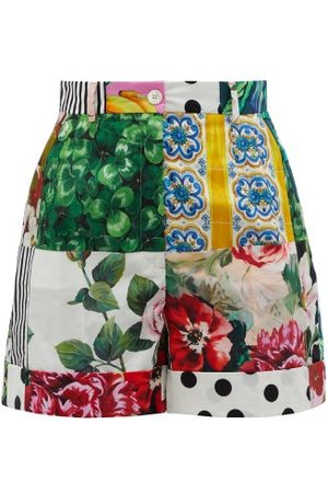 Dolce & Gabbana High-rise Patchwork Cotton-poplin Shorts - Womens - Multi