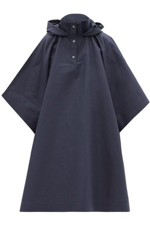 Kassl Editions Women Ponchos & Capes - Hooded Cotton-blend Gabardine Cape Coat - Womens - Navy