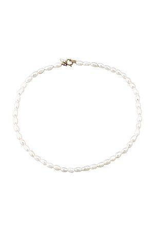 LOREN STEWART Rice Pearl Anklet in Ivory