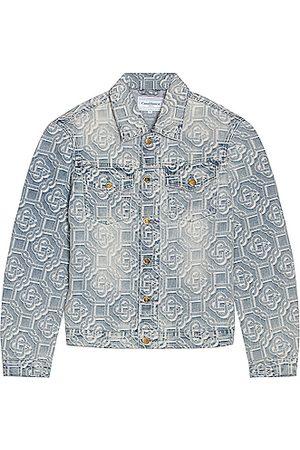 Casablanca Jacquard Logo Denim Jacket in Blue