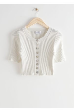 & OTHER STORIES Women Cardigans - Cropped Shell Button Rib Knit Cardigan