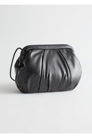 & OTHER STORIES Women Clutches - Gathered Leather Clutch Bag