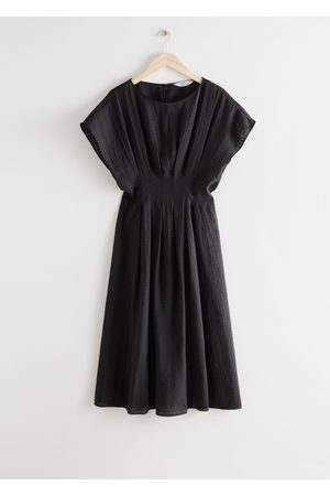 & OTHER STORIES Fitted Waist Wide Sleeve Midi Dress