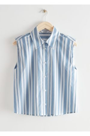 & OTHER STORIES Striped Sleeveless Padded Shoulder Shirt