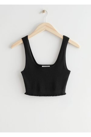 & OTHER STORIES Knitted Ruffled Bralette Rib Top