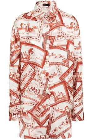 Joseph Women Long sleeves - Woman Printed Satin-twill Shirt Brick Size 36