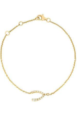 Rosa De La Cruz 18k Diamond Wishbone Charm Bracelet