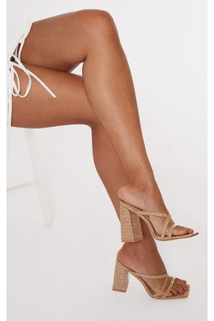 PRETTYLITTLETHING Women Heels - Nude Patent Pu Snake Flare High Block Heel Strappy Mules