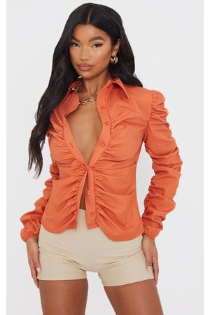 PRETTYLITTLETHING Burnt Woven Ruched Long Sleeve Shirt